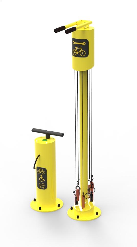 Samoobsługowa stacja naprawy rowerów żółta