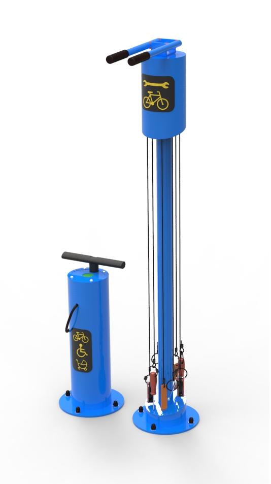 Samoobsługowa stacja naprawy rowerów niebieska